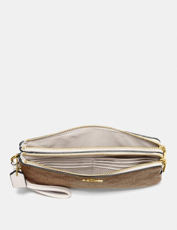 Coach Double Zip Wallet in Signature Canvas Khaki/Chalk/Gold Deals Just Reduced Alternate View 1