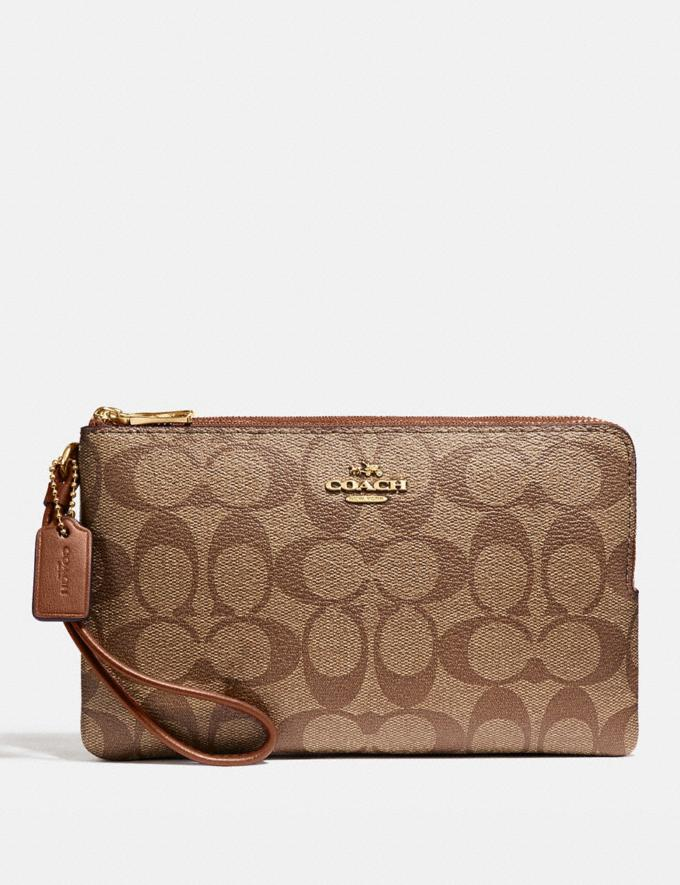 Coach Double Zip Wallet in Signature Canvas Khaki/Saddle 2/Light Gold Explore Women Explore Women Wallets