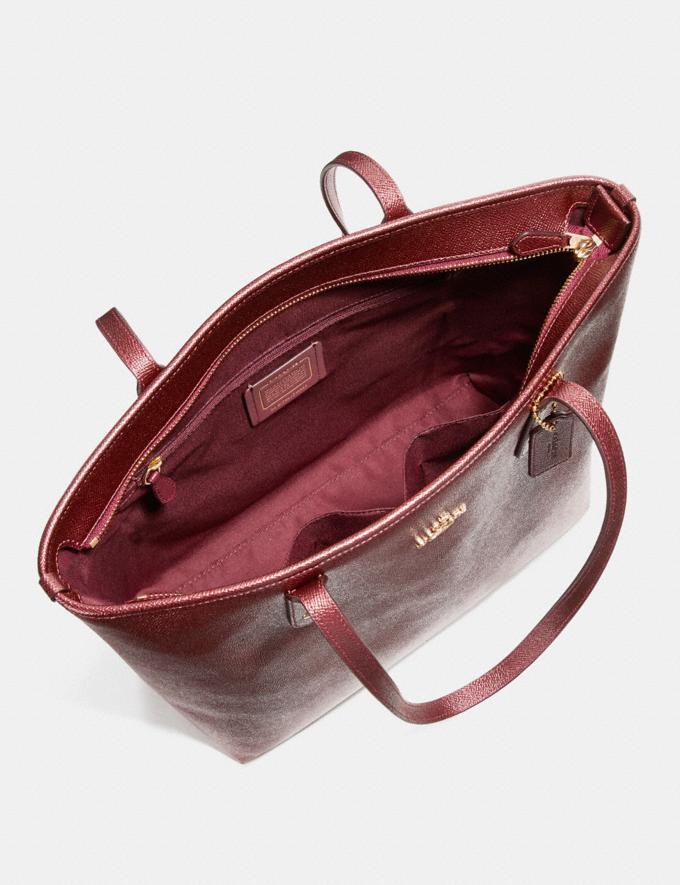 Coach City Zip Tote Metallic Sea Green Bags Totes Alternate View 1