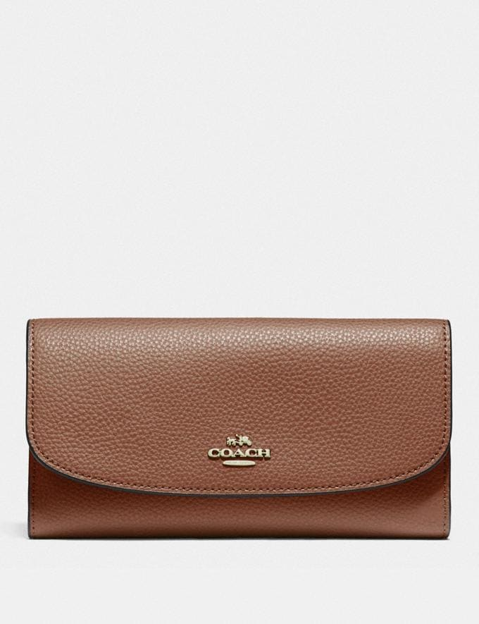 Coach Checkbook Wallet Saddle 2/Light Gold Back In Stock Back In Stock Wallets & Accessories