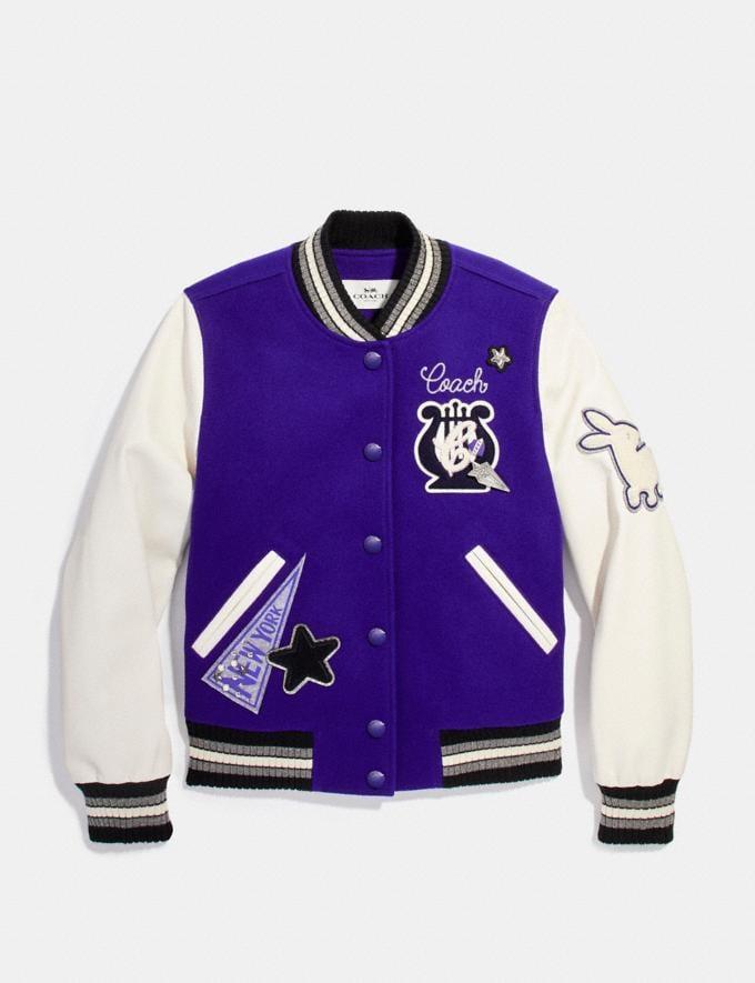 Coach Waverly Varsity Jacket Purple Cream