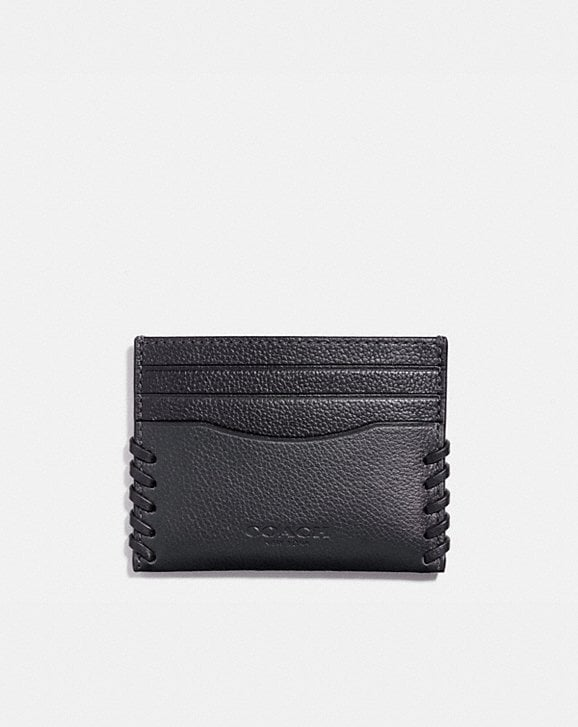 Coach SLIM CARD CASE WITH BASEBALL STITCH