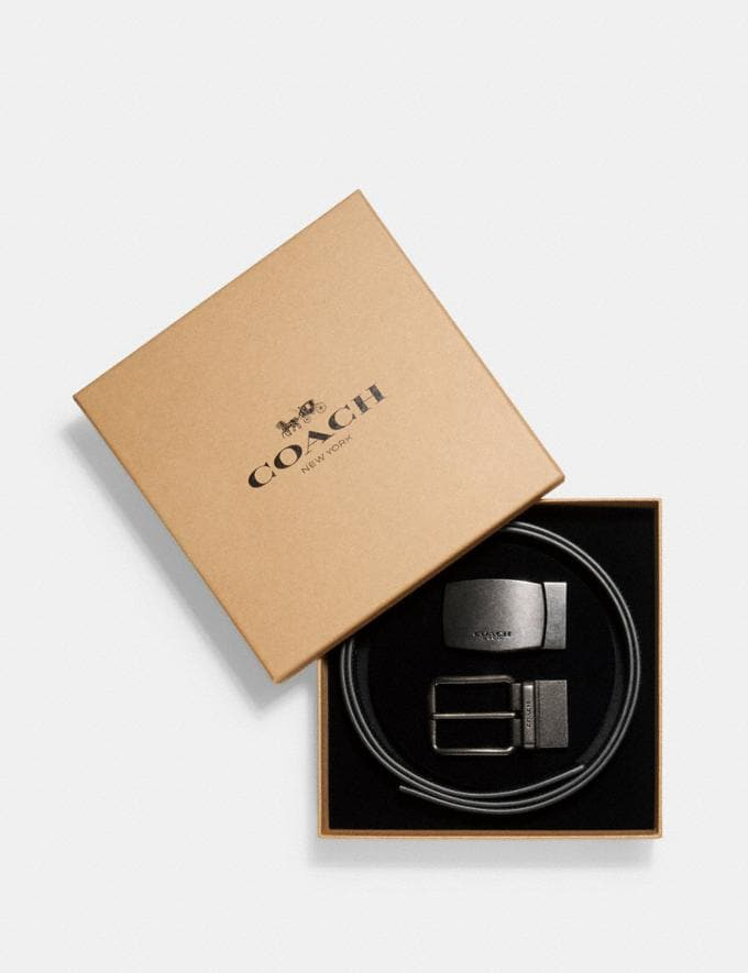Coach Boxed Harness Plaque Reversible Belt in Signature Canvas Tan/Black Antique Nickel