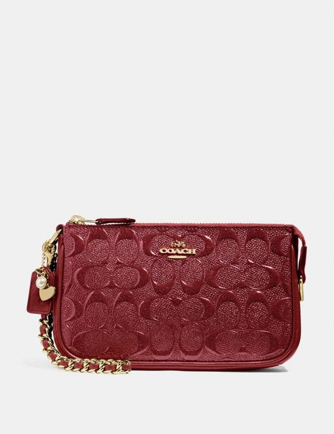 Coach Large Wristlet 19 in Signature Leather Cherry /Light Gold Explore Bags Bags Clutches