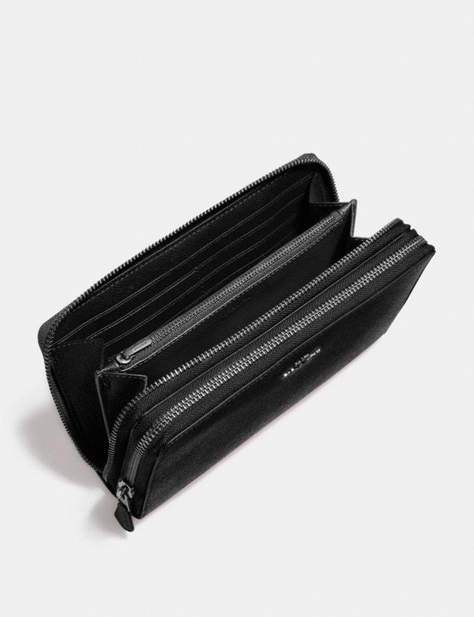 Coach Double Zip Travel Wallet Black/Black Antique Nickel Accessories Wallets Alternate View 1