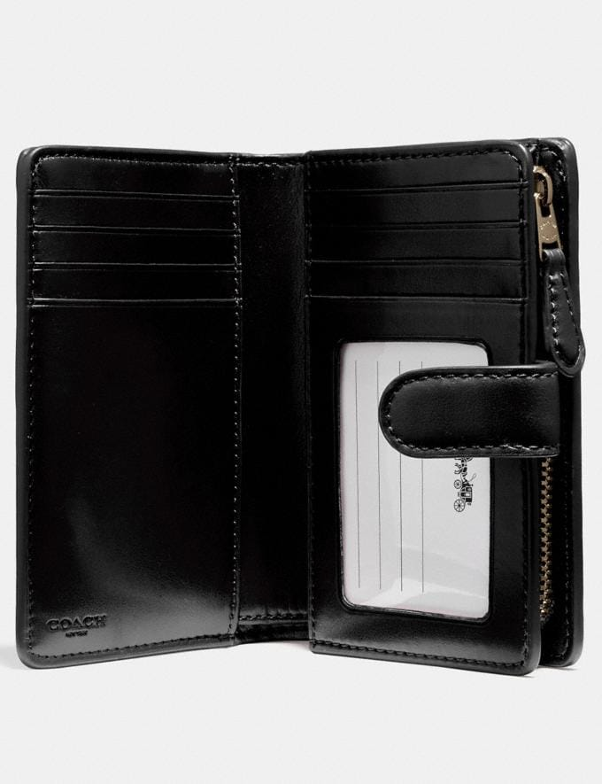 Coach Medium Corner Zip Wallet in Signature Canvas Brown/Black/Light Gold Accessories Wallets Alternate View 1