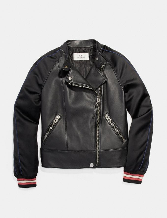 Coach Racer Jacket With Satin Sleeves Black null