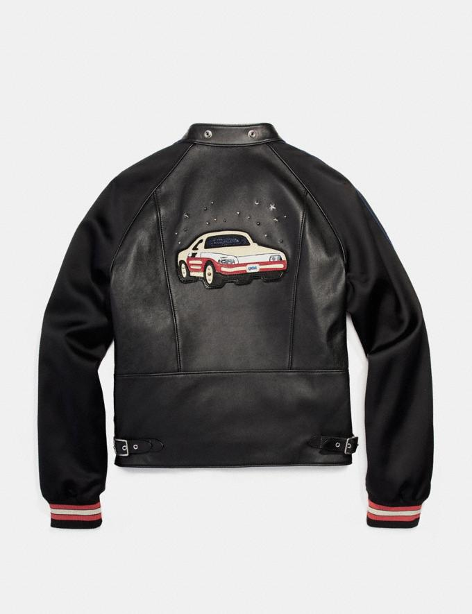 Coach Racer Jacket With Satin Sleeves Black null Alternate View 1
