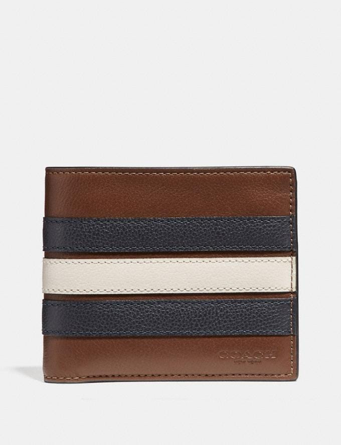 Coach 3-In-1 Wallet With Varsity Stripe Saddle/Midnight Nvy/Chalk