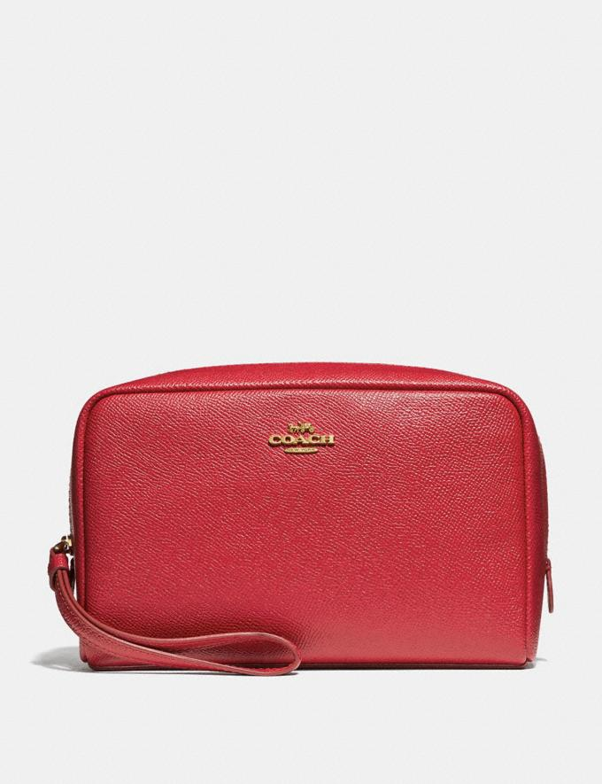 Coach Boxy Cosmetic Case True Red/Light Gold Explore Women Explore Women Bag Charms & Accessories