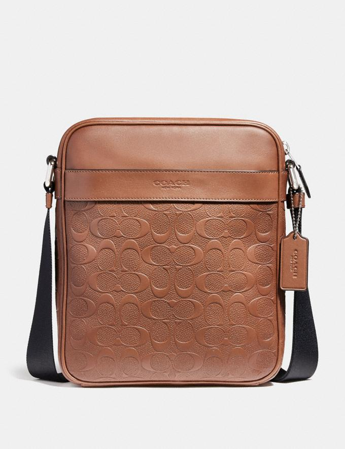 Coach Charles Flight Bag in Signature Leather Saddle/Nickel Men Bags