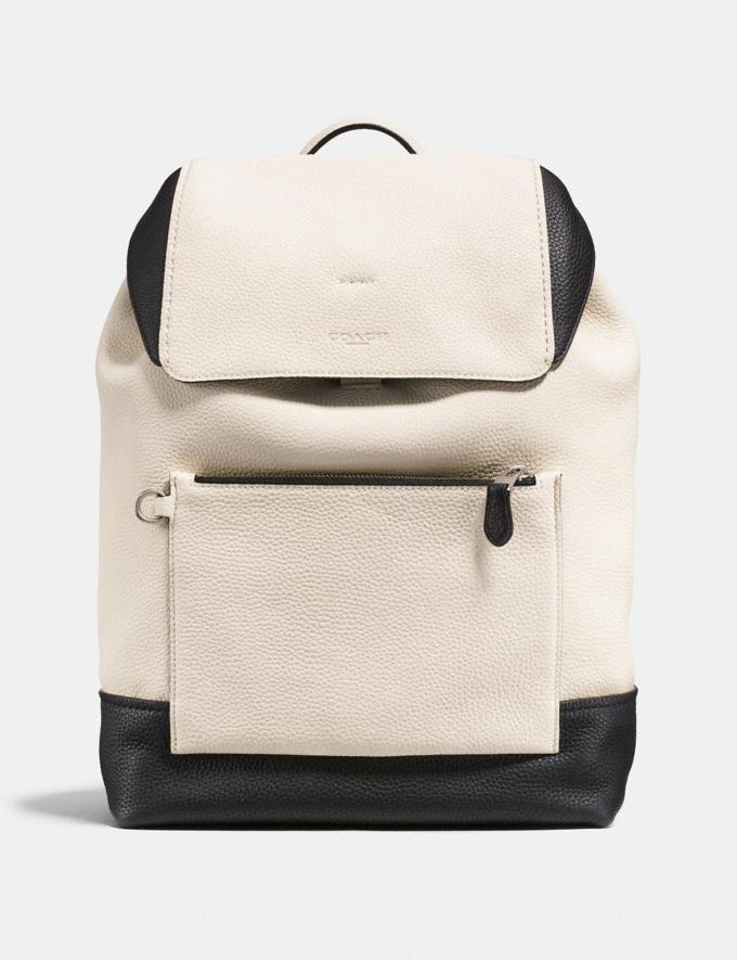 Coach Manhattan Backpack in Colorblock Chalk/Black/Black Antique Nickel Men Bags