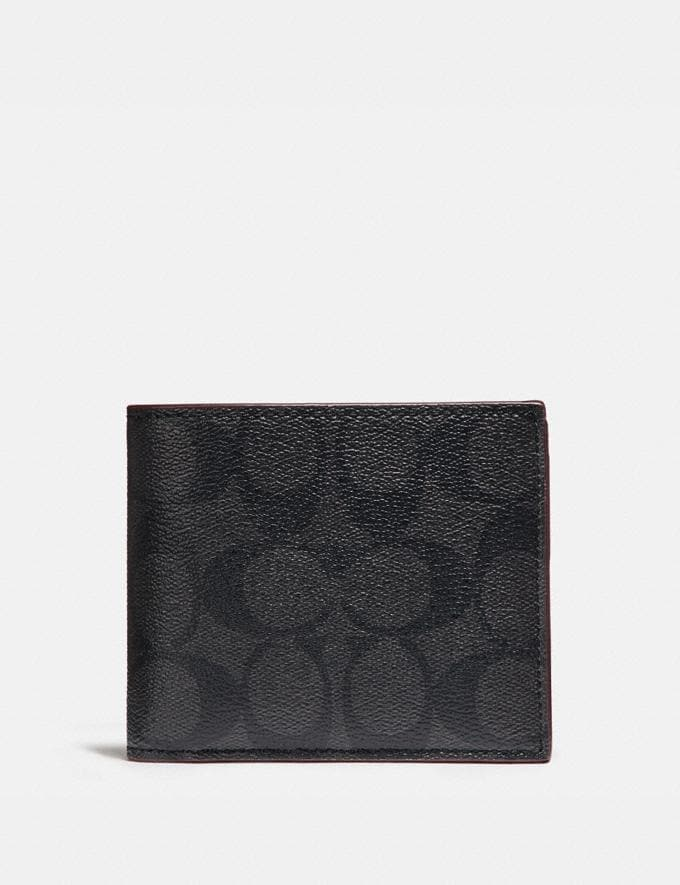 Coach Compact Id Wallet in Signature Canvas Black/Black/Oxblood Men Wallets