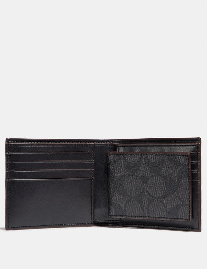 Coach Compact Id Wallet in Signature Canvas Black/Black/Oxblood  Alternate View 1