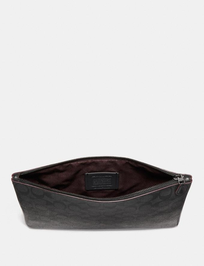 Coach Large Pouch in Signature Canvas Black/Black/Oxblood  Alternate View 1