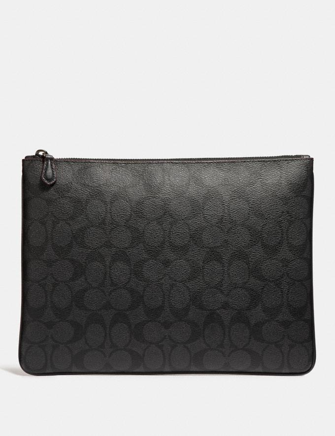 Coach Large Pouch in Signature Canvas Black/Black/Oxblood