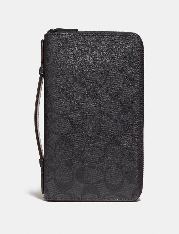 Coach Double Zip Travel Organizer in Signature Canvas Black/Black/Oxblood Men Travel
