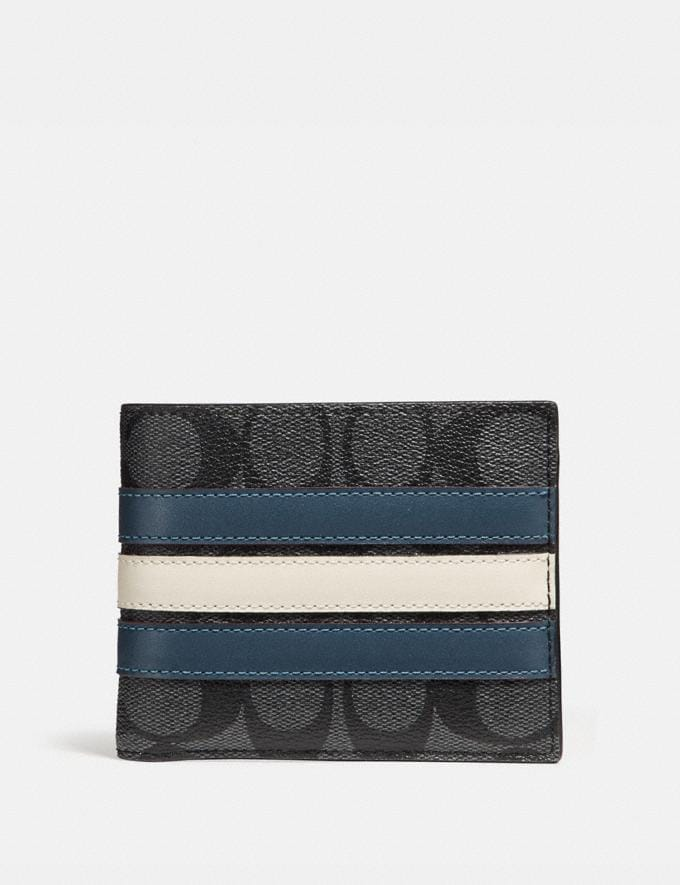 Coach 3-In-1 Wallet in Signature Canvas With Varsity Stripe Midnight Nvy/Denim/Chalk