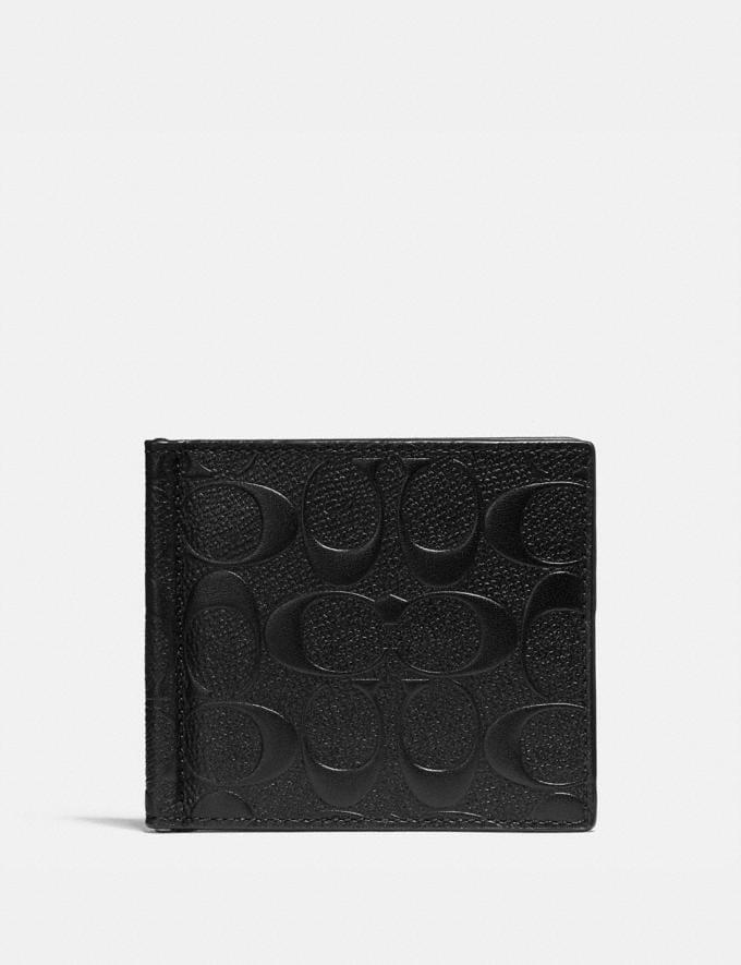 Coach Money Clip Billfold in Signature Leather Black Men Wallets