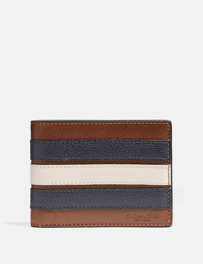 Coach Slim Billfold Wallet With Varsity Stripe Saddle/Midnight Nvy/Chalk
