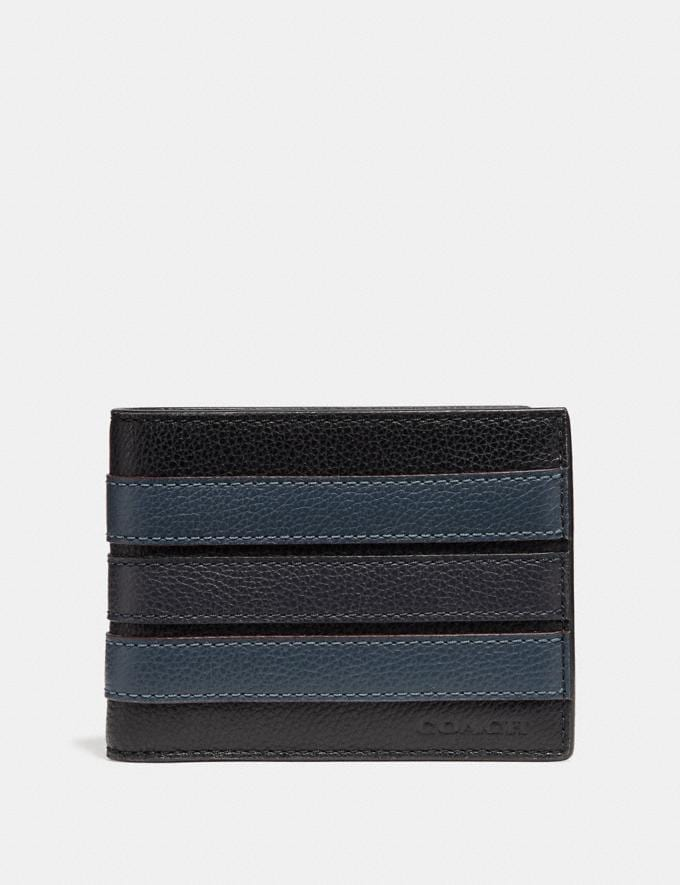 Coach Slim Billfold Wallet With Varsity Stripe Black/Denim/Midnight Nvy Explore Men Explore Men Wallets