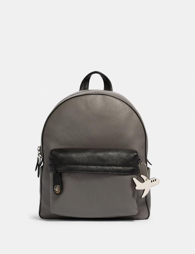 Coach Campus Backpack in Colorblock With Airplane Sv/Heather Grey Black