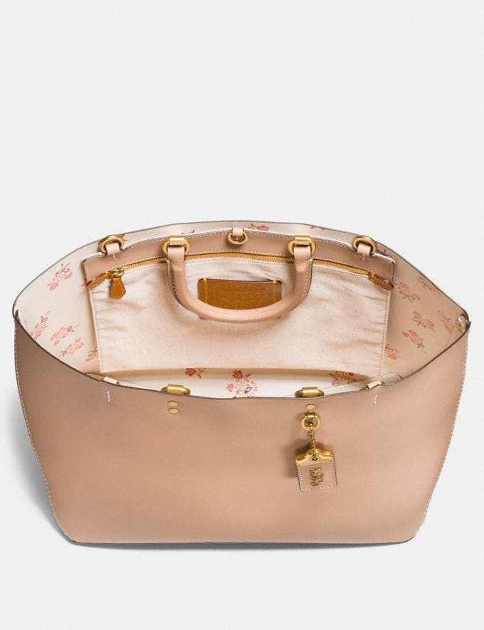 Coach Rogue Tote With Floral Bow Print Interior Beechwood/Old Brass Back In Stock Back In Stock Bags Alternate View 1