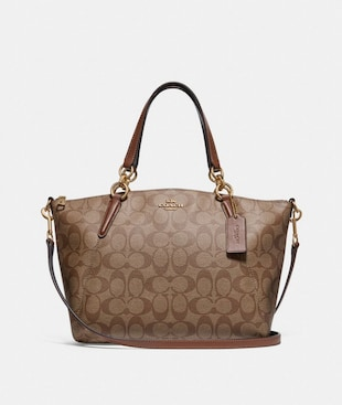 SMALL KELSEY SATCHEL IN SIGNATURE CANVAS