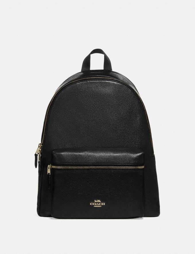 Coach Charlie Backpack Black/Light Gold Bags Bags Backpacks