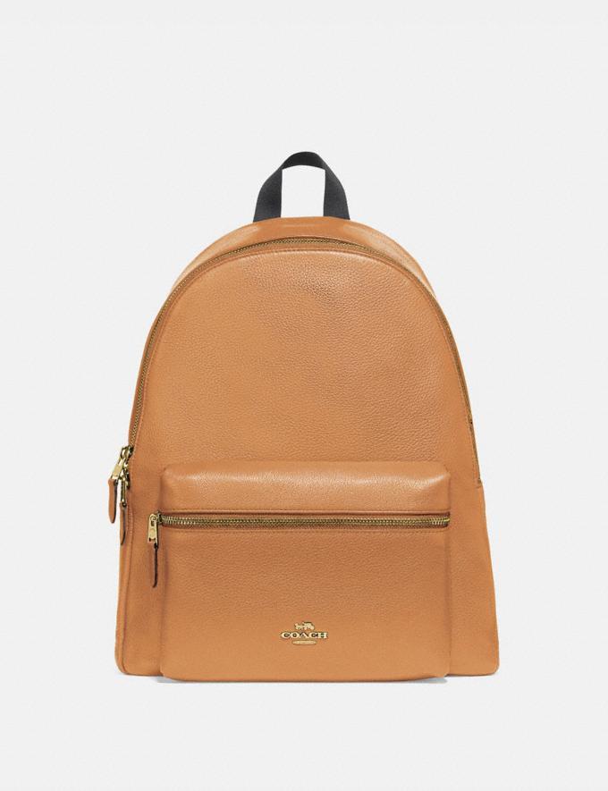 Coach Charlie Backpack Light Saddle/Light Gold