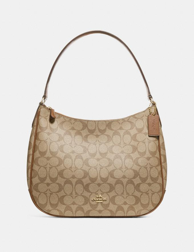 Coach Zip Shoulder Bag in Signature Canvas Khaki/Saddle 2/Light Gold Handbags Handbags Shoulder Bags
