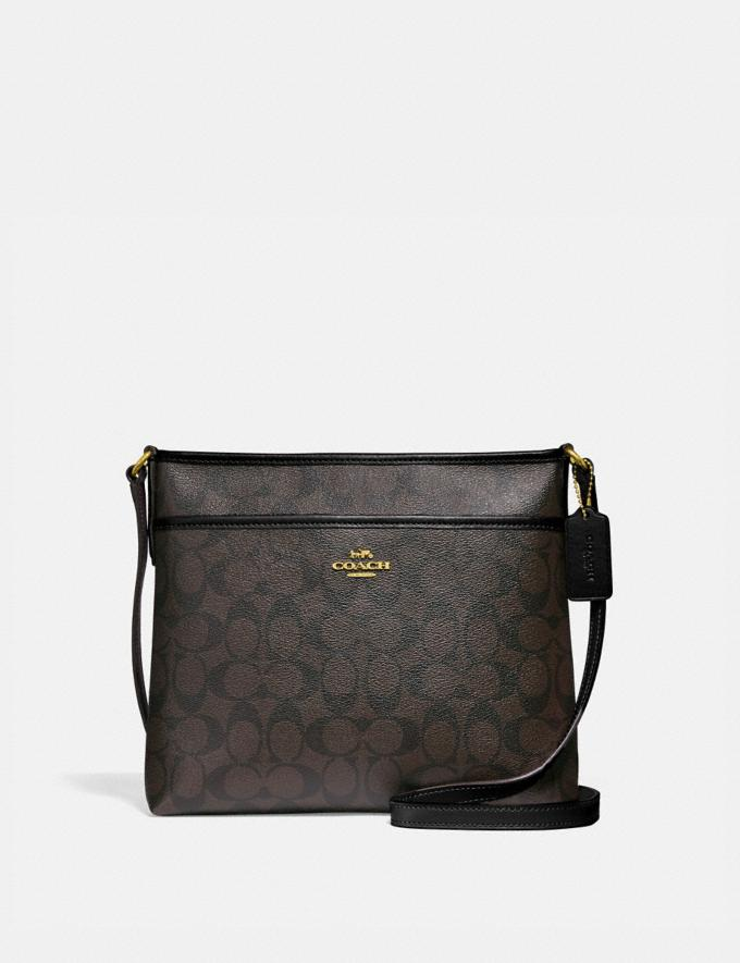 Coach File Crossbody in Signature Canvas Brown/Black/Light Gold Women Bags