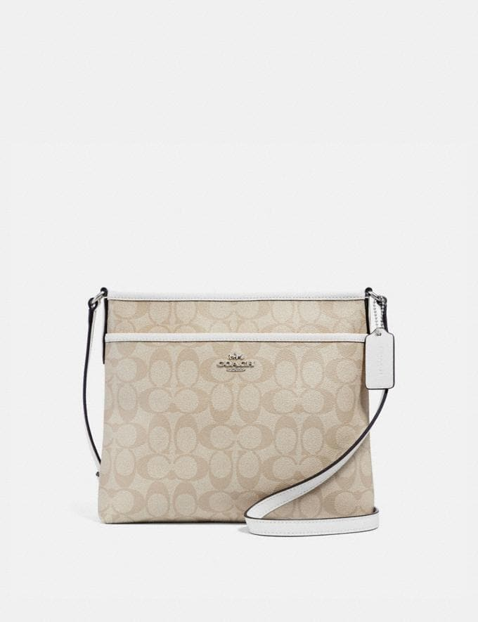 Coach File Crossbody in Signature Canvas Light Khaki/Chalk/Light Gold Explore Bags Bags Crossbody Bags