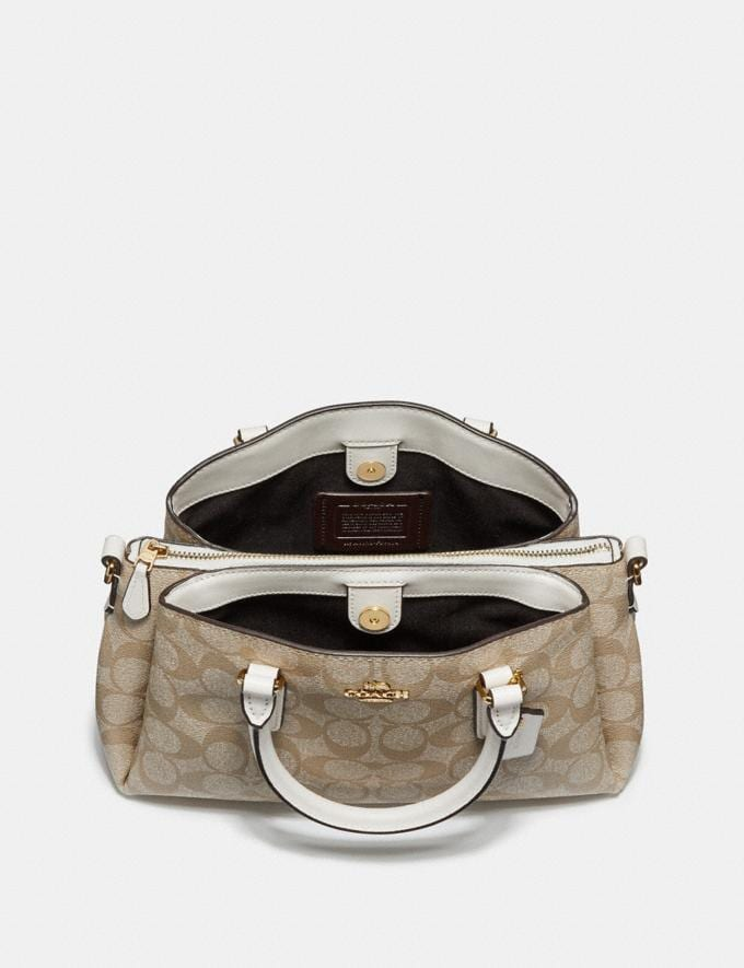 Coach Mini Sage Carryall in Signature Canvas Light Khaki/Seafoam/Silver Clearance Bags Alternate View 1