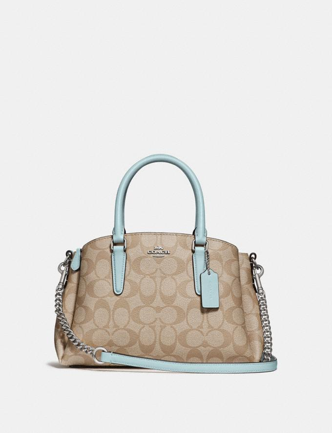 Coach Mini Sage Carryall in Signature Canvas Light Khaki/Seafoam/Silver Clearance Bags
