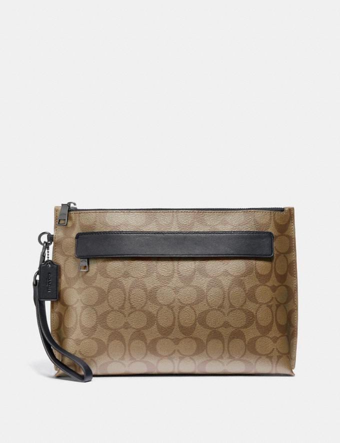 Coach Carryall Pouch in Signature Canvas Tan/Black Antique Nickel