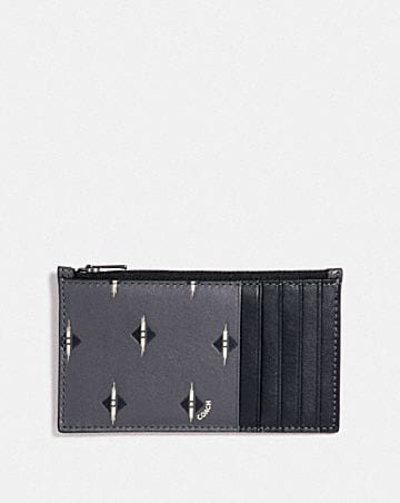 zip card case with ikat geo print