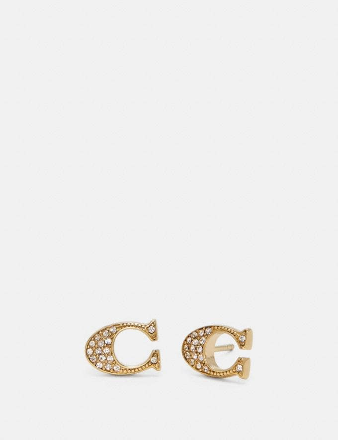 Coach Signature Stud Earrings Gold