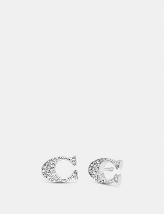 Coach Signature Stud Earrings Silver