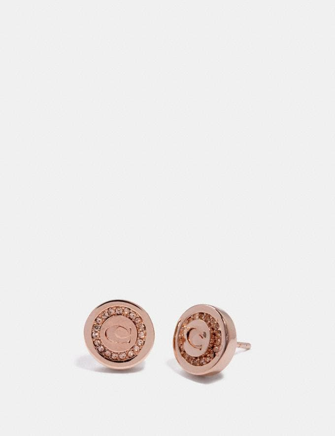 Coach Pave Pendant Stud Earrings Rosegold