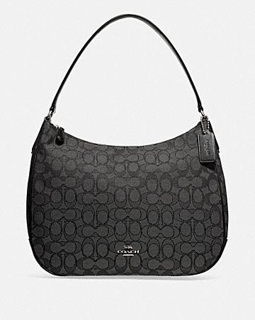 zip shoulder bag in signature jacquard