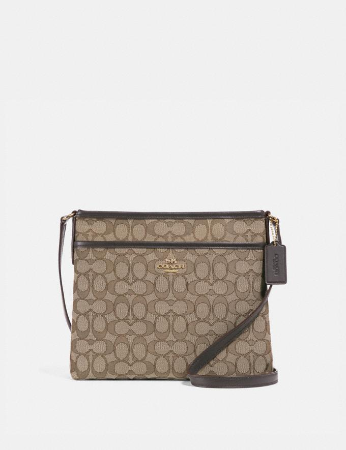 Coach File Crossbody in Signature Jacquard Khaki/Brown/Light Gold Deals Bags Under $125