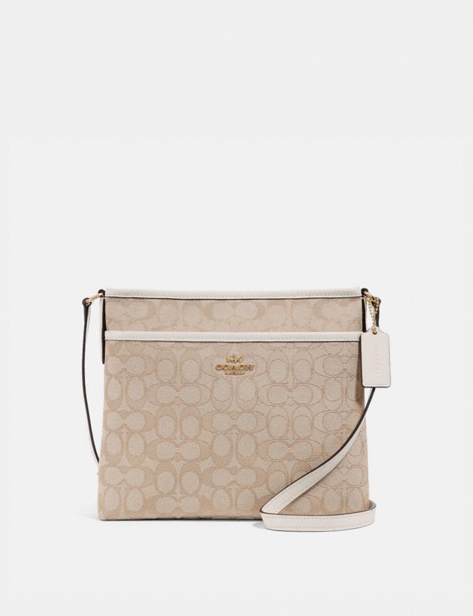 Coach File Crossbody in Signature Jacquard Light Khaki/Chalk/Light Gold Explore Bags Bags Crossbody Bags
