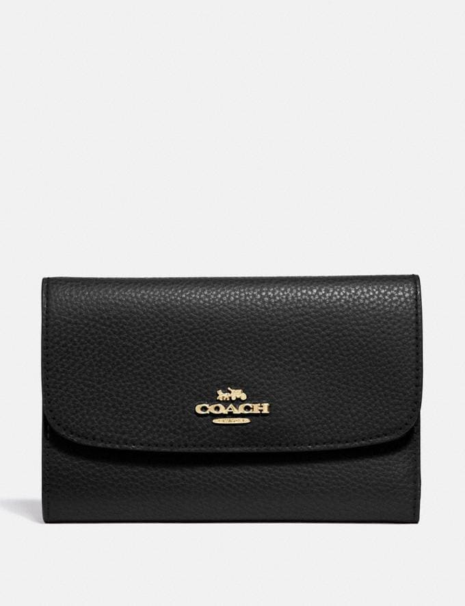 Coach Medium Envelope Wallet Black/Light Gold Explore Women Explore Women Wallets
