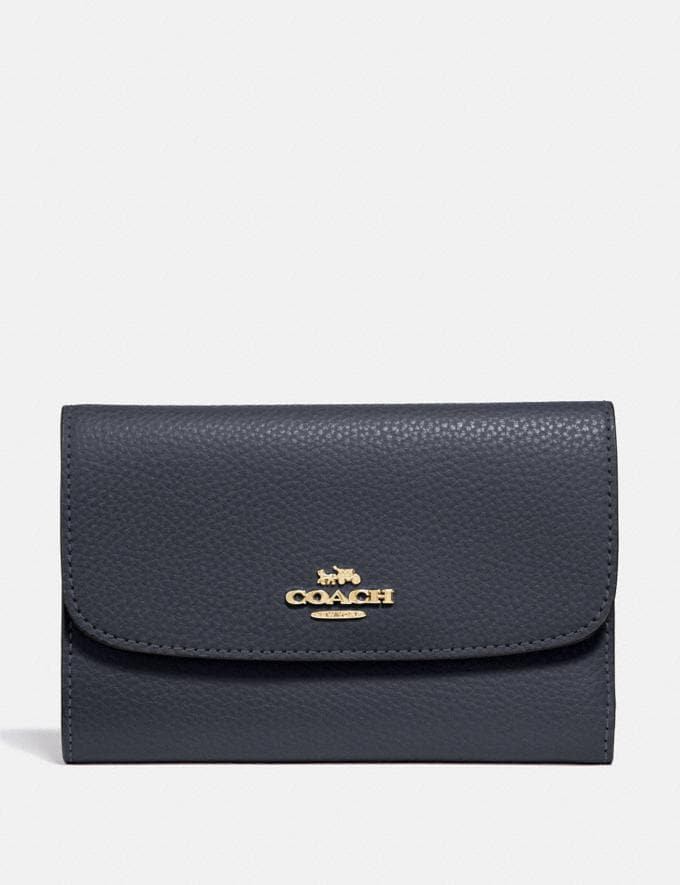 Coach Medium Envelope Wallet Midnight/Light Gold Explore Women Explore Women Wallets