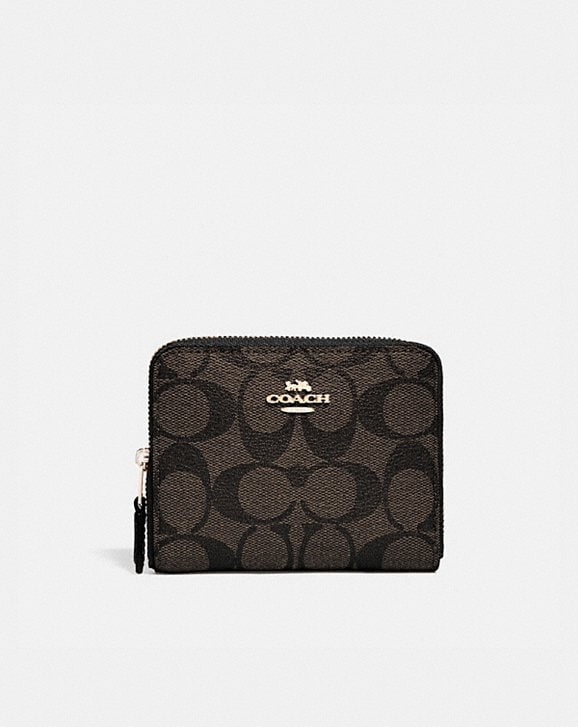 Coach SMALL ZIP AROUND WALLET IN SIGNATURE CANVAS