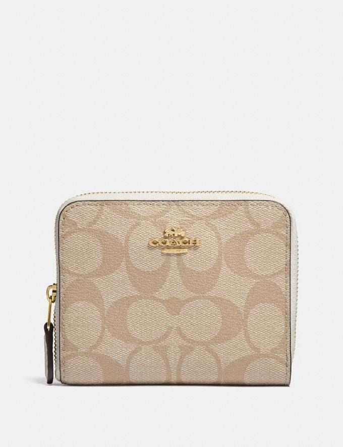 Coach Small Zip Around Wallet in Signature Canvas Im/Light Khaki/Chalk Accessories Wallets