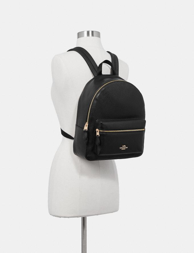 Coach Medium Charlie Backpack Black/Light Gold  Alternate View 3