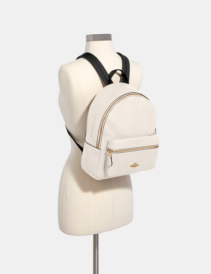 Coach Medium Charlie Backpack Chalk/Light Gold DEFAULT_CATEGORY Alternate View 2