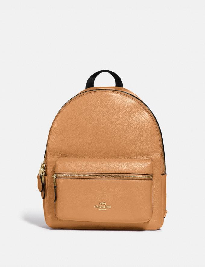 Coach Medium Charlie Backpack Light Saddle/Light Gold Explore Women Explore Women